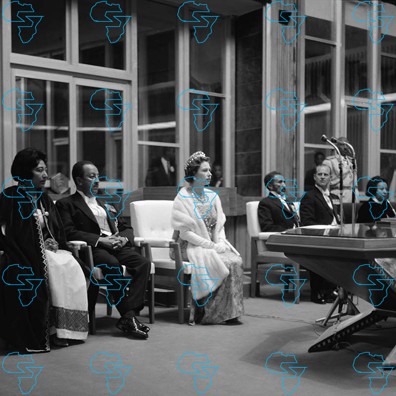 HIM Haile Selassie I, Queen Elizabeth II and Prince Philip, the Duke of Edinburgh listen to a speech by the Mayor of Addis Ababa.