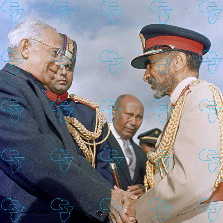 HIM Haile Selassie I welcoming His Excellency Dr Sarvepalli Radhakrishnan, President of India.