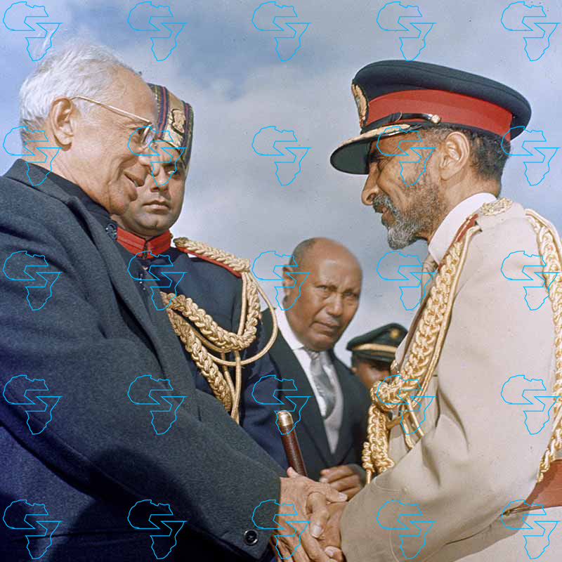 HIM Haile Selassie I welcoming His Excellency Dr Sarvepalli Radhakrishnan, President of India.