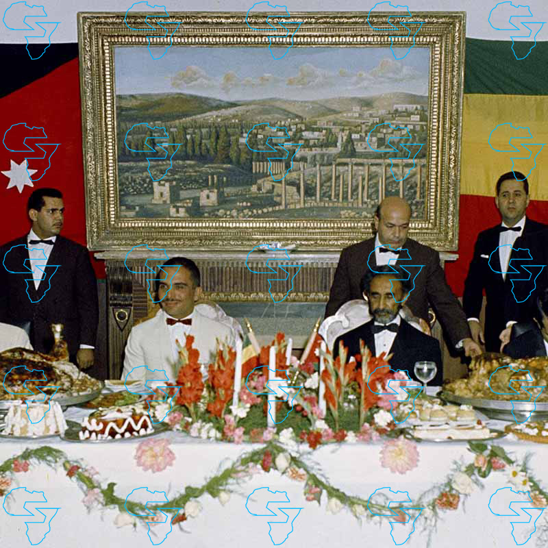 HIM Haile Selassie I attending a banquet given in his honour by His Majesty King Hussein of Jordan
