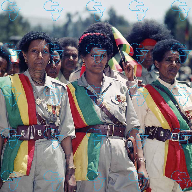 War veterans Menilek Square Addis Ababa 1973